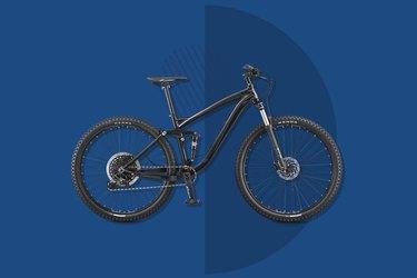 Mongoose Salvo Comp 29 mountain bike on blue background