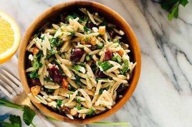 Orange Orzo Salad with Almonds, Feta and Olives recipe