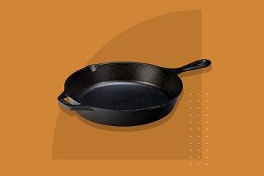Cast Iron Pan on orange background