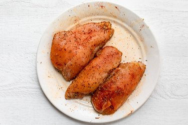 Seasoned chicken breast on a plate