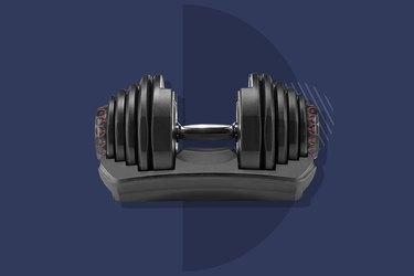 Bowflex SelectTech Adjustable Dumbbells on navy background