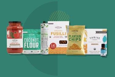 Thrive Market Starter Kit displayed on a forest green background