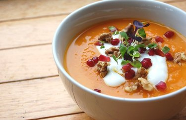 Carrot Ginger Soup with Mascarpone Cheese and Pomegranates