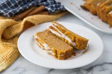 slice of Keto Pumpkin Bread on white plate