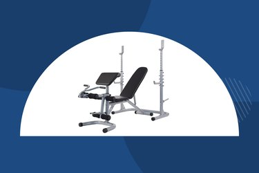 Sporzon Multifunctional Adjustable Workout Bench with a dark blue background