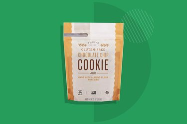 Thrive Market Gluten-Free Chocolate Chip Cookie Mix displayed on a green background