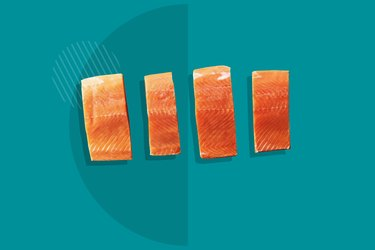 Thrive Market Wild-Caught Sockeye Salmon Box displayed on a teal background