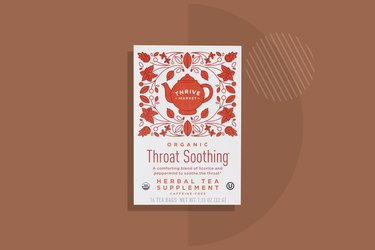 Thrive Market Organic Throat Soothing Tea displayed on a brown background