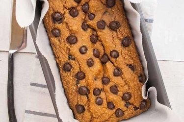 overhead photo of high-protein Chocolate Chip Pumpkin Bread recipe