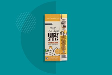 Thrive Market's Free-Range Turkey Sticks staged on a teal background