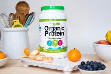 photo of orgain organic protein powder