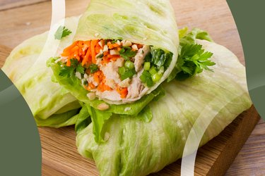 Gluten-Free Turkey Roll-Ups wrapped in lettuce on a wooden block