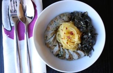 Instant Pot Spaghetti Squash with Spicy Chicken Sausage and Mustard Greens