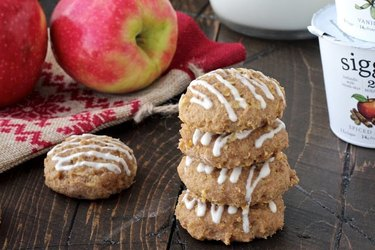 Spiced Apple Skyr Quinoa Cookies With Vanilla Maple Drizzle
