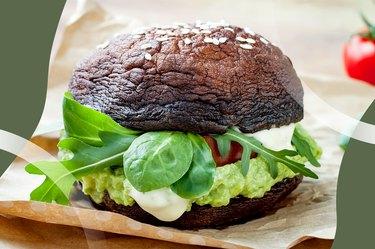 guacamole and veggie sandwich with mushroom caps as a bun