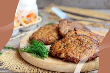 Breakfast Turkey-Apple Sausage Mini Patties on a cutting board with dill