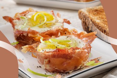 Ham-and-Egg Cups on a white plate