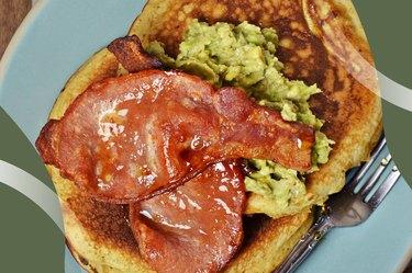 BLT Avocado Toast on Cauliflower bread on a blue plate