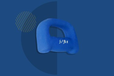 jfit 2-pound neoprene grip dumbbells on dark blue background