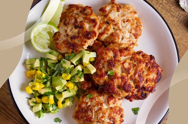 Organic Chicken Breakfast Patties on a white plate and side of corn salsa