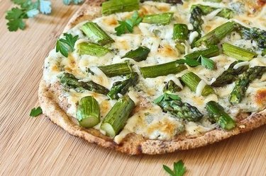 Pita Flatbread with Asparagus and Herbed Cottage Cheese