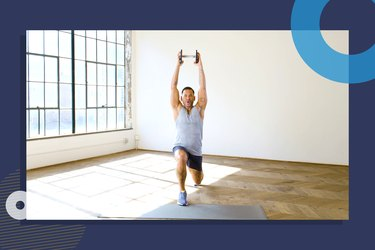 photo of COREntine founder Keoni Hudoba doing lunge with overhead press for 10-minute low-impact cardio workout