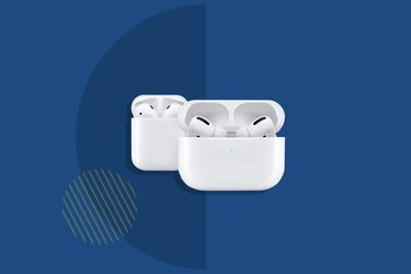 Apple AirPods against a blue background