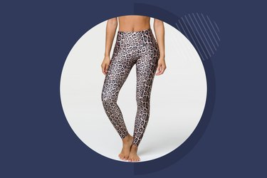 Woman wearing leopard print workout leggings from Onzie
