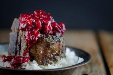 Braised Lamb Chops with Cranberry-Harissa Chutney