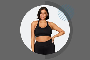 Woman wearing a black sports bra from Outdoor Voices