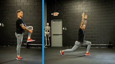 Move 1: High Knee Pull to Step Back Lunge With High Reach