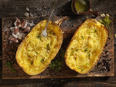 Spaghetti squash with garlic butter and herbs