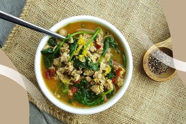 Cajun Turkey and Greens Hot Cereal Bowl on burlap placemat with extra pepper on side