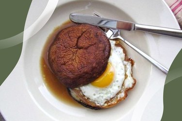 Portobello Egg Sandwich on a white plate with silverware
