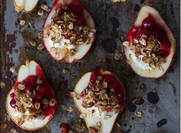 Cranberry and Goat Cheese Stuffed Pears