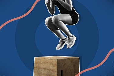 woman landing a box jump on a navy blue and coral background