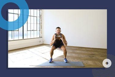 photo of COREntine founder Keoni Hudoba doing 10-minute full-body HIIT workout with single dumbbell