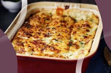 Rotisserie Chicken Lasagna in a casserole dish