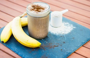 Protein Blended Coffee with bananas and protein powder on side