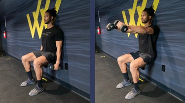 Move 7: Wall Sit With Front Raise