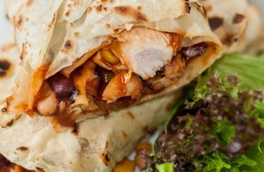 Breakfast Burrito with leafy greens