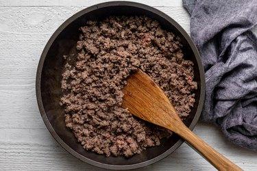 Cook ground beef until browned.