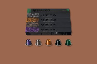 A box of Nespresso coffee pods in assorted flavors