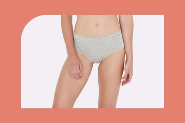 gray boody midi brief on a white and coral background