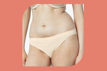 beige bombas seamless bikini on a white and coral background