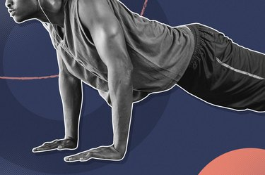 mixed media graphic of man doing push-up