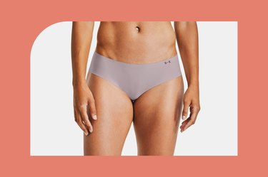 lavender under armour pure stretch underwear on a white and coral background