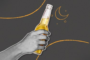 image of hand holding beer bottle on a gray background with moon and stars illustration