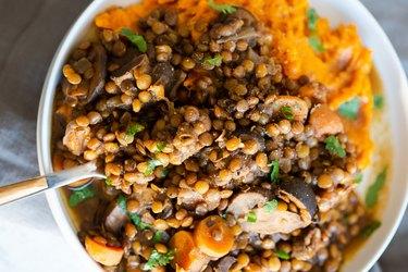 Vegan Lentil Mushroom Stew With Sweet Potatoes