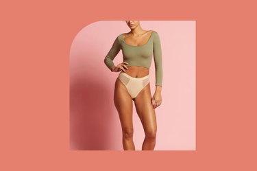 nude-colored Parade high-rise re:play thong on a pink and coral background
